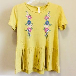 Orange Creek Embroidered Peplum Mustard Yellow Top